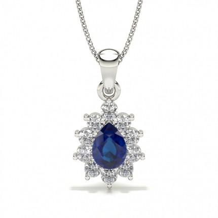 Halo Blue Sapphire Stud Pendant