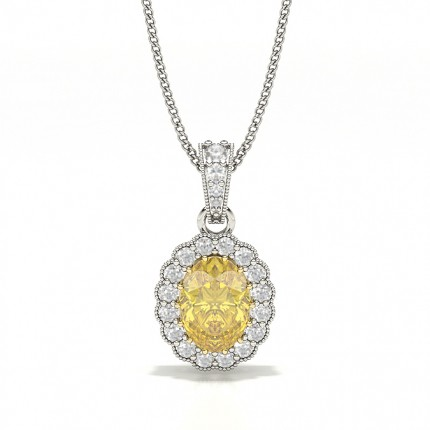 Prong Set Yellow Diamond Halo Pendant