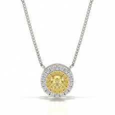 Yellow Diamond Circle Prong Studded Pendant