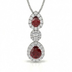Pear Shape Ruby Journey Pendant
