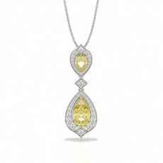 Yellow Diamond Halo Setting Pendant
