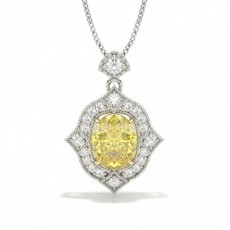 Yellow Diamond 4 Prong Setting Halo Pendant