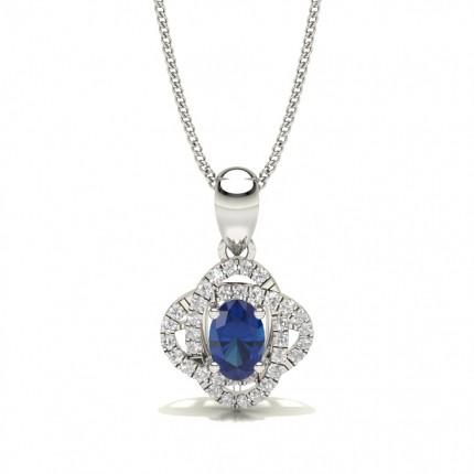 4 Prong Setting Blue Sapphire Halo Pendant
