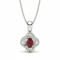 4 Prong Setting Ruby Halo Pendant