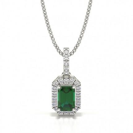 4 Prong Setting Emerald Halo Pendant