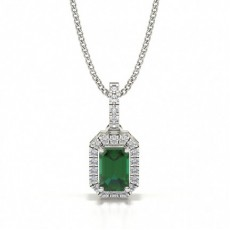 4 Prong Setting Emerald Halo Pendant