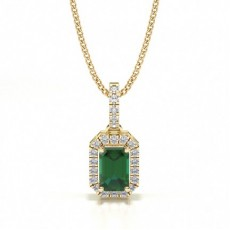 Emerald Yellow Gold Gemstone Pendants
