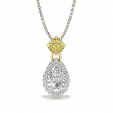 Yellow Diamond Halo Designer Pendant