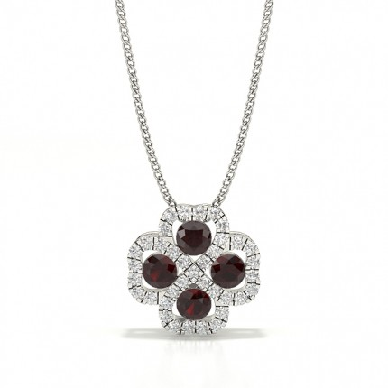 Prong Setting Round Ruby Cluster Pendant