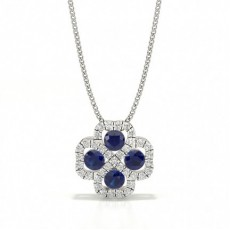 Prong Setting Round Blue Sapphire Cluster Pendant