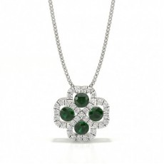 Prong Setting Round Emerald Cluster Pendant