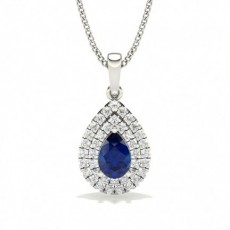 Prong Setting Pear Blue Sapphire Halo Pendent