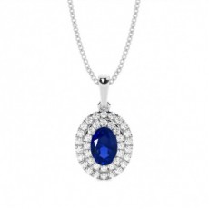 Prong Setting Oval Blue Sapphire Halo Pendent