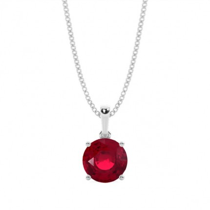 4 Prong Setting Round Ruby Pendent