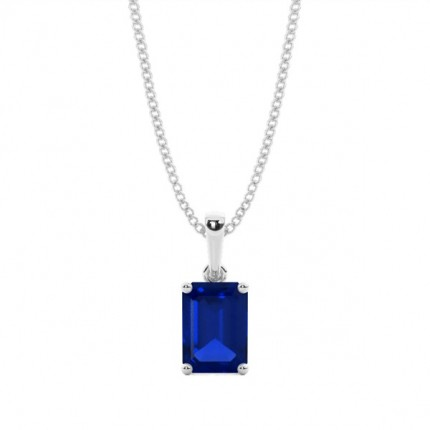 4 Prong Setting Blue Sapphire Pendent