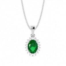 White Gold Emerald Pendants