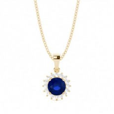 4 Prong Setting Round Blue Sapphire Pendent