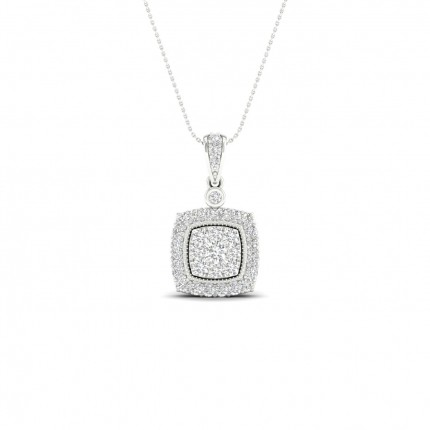 Micro Pave Setting Round Diamond Cluster Pendant