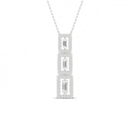Channel Setting Baguette Diamond Journey Pendant