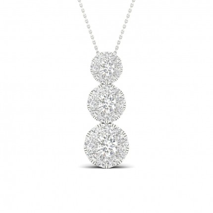 Micro Pave Setting Round Diamond Journey Pendant