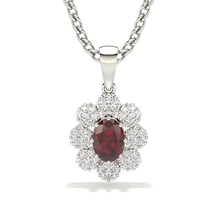 Invisible Prong Setting Halo Ruby Pendant