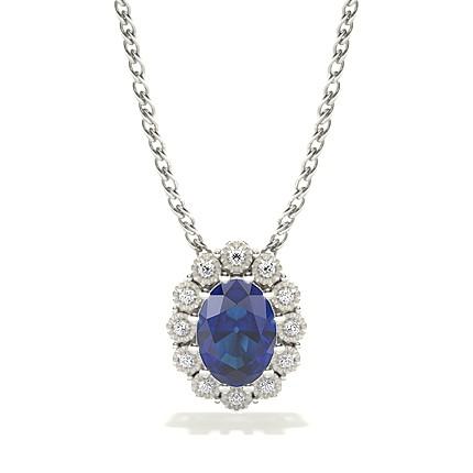 Fanuk Prong Setting Halo Blue Sapphire Pendant