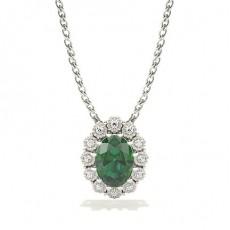 Fanuk Prong Setting Halo Emerald Pendant