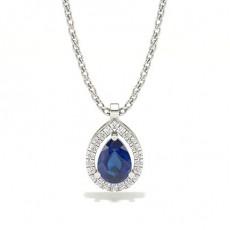 Prong Setting Halo Blue Sapphire Pendant
