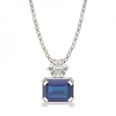 Prong Setting Solitaire Blue Sapphire Pendant