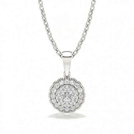 Shared Prong Setting Round Diamond Cluster Pendant