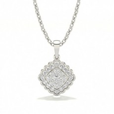 Shared Prong Setting Round Diamond Cluster Pendant