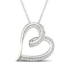 Micro Prong Diamond Heart Pendant