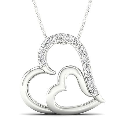 Micro Prong Diamond Heart Pendant