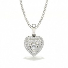 Heart shaped Shared Prong Setting Pendant
