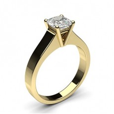 Asscher Yellow Gold Solitaire Diamond Rings