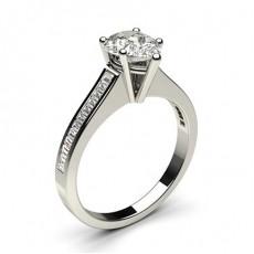 Pear Platinum Side Stone Diamond Engagement Rings