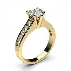 Heart Yellow Gold Side Stone Diamond Engagement Rings