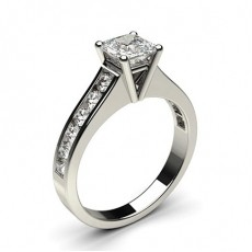Asscher Platinum  Side Stone Diamond Engagement Rings