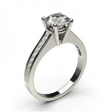 Round Platinum  Side Stone Engagement Rings