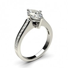 Marquise Platinum Side Stone Diamond Rings