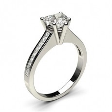 Heart Platinum  Side Stone Engagement Rings