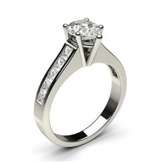 Pear Platinum Side Stone Diamond Rings