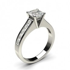 Asscher White Gold  Side Stone Diamond Engagement Rings