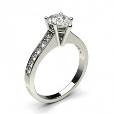 Pear White Gold Side Stone Engagement Rings