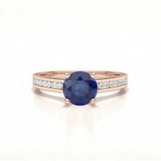 Round Rose Gold Gemstone Diamond Rings