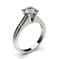 Round White Gold Side Stone Engagement Rings