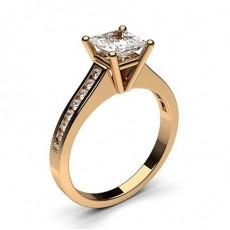 Princess Rose Gold Diamond Engagement Rings