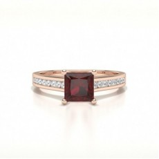 Princess Rose Gold Gemstone Diamond Rings