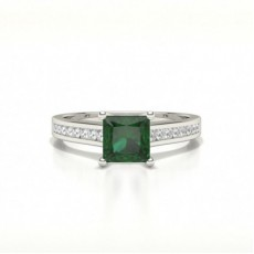 Princess Emerald Engagement Rings