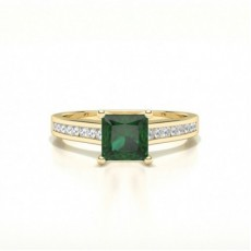 Princess Yellow Gold Gemstone Diamond Rings